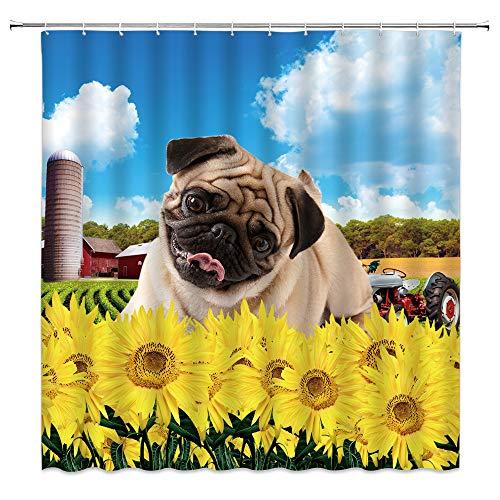MNSC Cute Bulldog Shower Curtain Sunflower Farm Blue Sky Country Farmhouse Funny Pug Dog Puppy Kids Pet Creative Animal Plant Child Yellow Rustic Art Decor Fabric Bathroom Curtain with Hooks