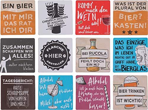 ootb Getränkeuntersetzer Bierdeckel Untersetzer Glasuntersetzer mit Sprüchen & Zitaten »Slogans« Holz 12er Set