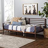Walker Edison Mid Century Modern Wood Spindle Daybed Headboard Footboard Bed Frame Bedroom, Day, Walnut