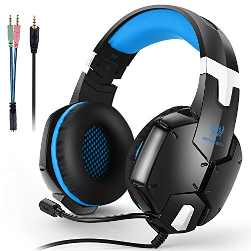 KOTION EACH G1200 Gaming Headset for PS4, Professional 3.5mm PC Stereo Headphones with Mic, Comfortable Bass Headband with Integrated Microphone for PS4 PC Computer Laptop Smartphones (Blue)