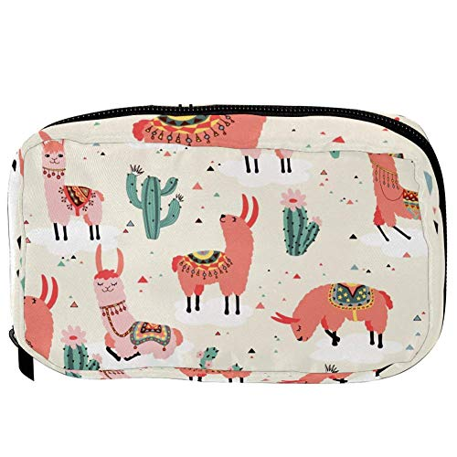 TIZORAX Cosmetic Bags Lovely Pink Llama And Cactus Handy Toiletry Travel Bag Organizer Makeup Pouch for Women Girls