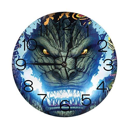 NOBRAND Soporte Base Relojes sin Marco Reloj Digital clásico sin tictac Reloj Godzilla Número Reloj de Pared Redondo para Sala de Estar Decoración de Cocina
