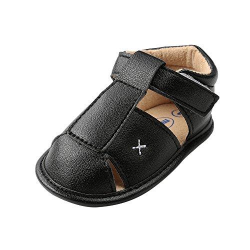 Baby Jungen Weiche Sohle Sandalen Kleinkind Anti-Rutsch Sommer Krippe Schuhe,Schwarz,0-6 Monate