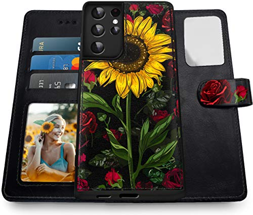 Shields Up Galaxy S21 Ultra Wallet Case, [Detachable] Magnetic Wallet Case, Durable and Slim with Card Slots & Wrist Strap, [Vegan Leather] Cover for Samsung Galaxy S21 Ultra 5G -Rose Flower/Sunflower