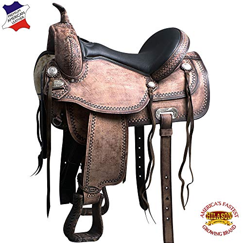 HILASON 15' Western Horse Saddle American Leather Flex Tree Trail