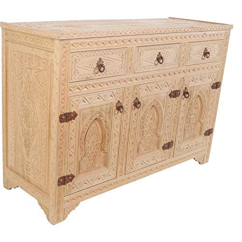 Casa Moro Orientalische Kommode Semi 120x44x83 (B/T/H) aus Zedernholz handgeschnitzt | Marokkanisches Sideboard | MO1050