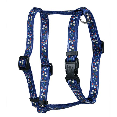 Yellow Dog Design Festive Butterfly Blue Roman Style H Dog Harness, Small/Medium