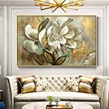 Peinture sans cadrePlatine Fleur Acrylique Peinture à l'huile Mur Art Photo Toile Peinture à l'huile Salon Maison Queue de Poisson décoration40X60 cm