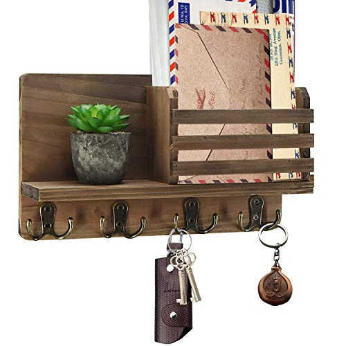 Y&ME YM Mail Organizer Wall Mounted, Rustic Key Hangers and Mail Sorter, Wood Decorative Mail Shelf with 4 Hooks, Key Holder for Wall, Wooden Key and Mail Holder for Wall Decorative (Brown)
