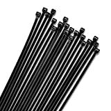 12' Inch Zip Ties Black (100 Pack), 40lb Strength, Nylon Cable Wire Ties, By Bolt Dropper.