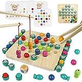 Juguetes Ajedrez de Memoria, Juguetes Madera Montessori, Juego de Magnética Pesca 4 en 1, Juego de Mesa Puzzle Infantil , Juegos Educativos Regalos para Niño Niña 3 4 5 6 Años