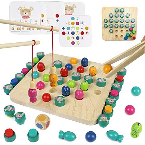Giochi Montessori Memory Scacchi Gioco per Bambini 4 in 1 Giochi di Pesca Giochi da Tavolo in Legno con 8 Carta Giocattolo Giochi Educativi Regalo per Bambini Bambina 3 4 5 6 Anni