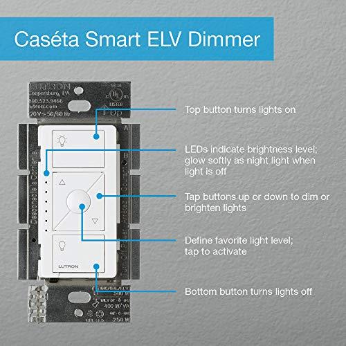 Lutron Caseta Wireless Smart Lighting ELV Dimmer Switch for Electronic Low Voltage Light Bulbs, PD-5NE-WH, White