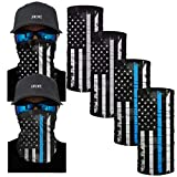 AWUWE 4 PCS a Set US Flag Face Mask Bandana Balaclava Neck Gaiter Scarf Reusable Seamless Headband Blue and Black