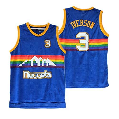 Fei Fei Nostálgico Camiseta de Baloncesto Deportiva #3 Iverson Nuggets Chaleco sin Mangas Snow Mountain versión Desgaste Resistente,Azul,M
