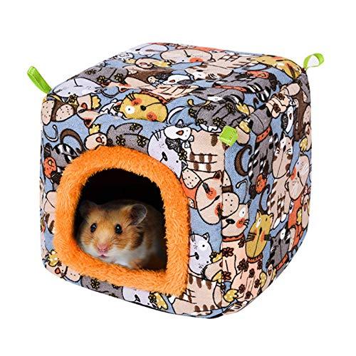 Tfwadmx - Hamster de conejillo de indias cálido para hámster o cabaña de peluche para casa de invierno con nido de peluche para jaula de cueva de animales pequeños
