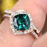 WANGYUSHENG Rose Gold Tone Cushion Emerald CZ Engagement Rings for Women Cubic Zirconia Promise Halo Engagement Ring Set (US Size 8)