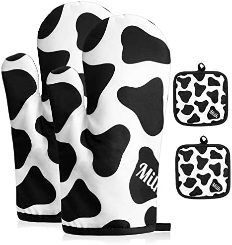 ORNOOU Milk Cows Pattern Oven Mitts and Pot Holders 4 Piece Set Non Slip Gloves for Cooking product image