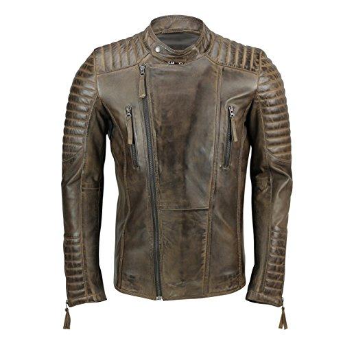 Xposed - Chaqueta de Motociclista para Hombre, Piel auténtica, Estilo Vintage, Color marrón Envejecido, con Cierre...