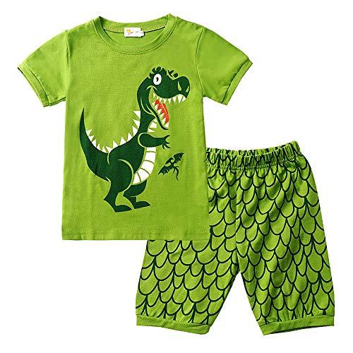 EULLA Jungen Schlafanzug Set Neuheit Cartoon Dinosaurier Bagger Nachtwäsche Kurzarm Pyjamas Outfit, 2-dinosaurier, 116/Herstellergröße:140