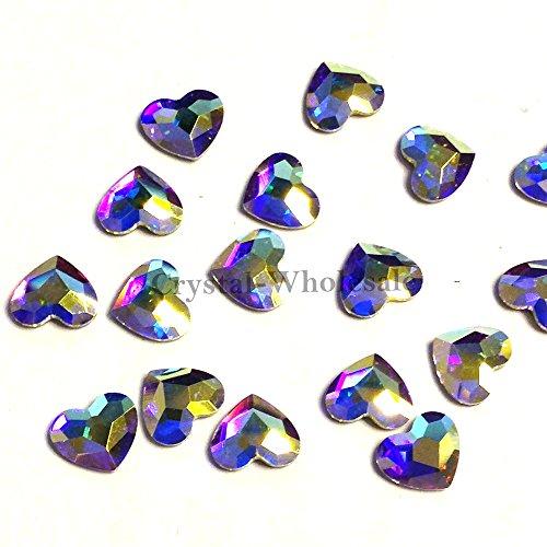 Crystal AB (001 AB) Swarovski 2808 Heart - 6mm Flatbacks No-Hotfix Rhinestones 8 pcs from Mychobos (Crystal-Wholesale)