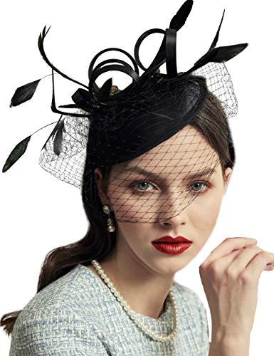 Coucoland Fascinators hoed dames elegante veer fascinator haarband voor bruiloft cocktail thee party derby haar hoofdaccessoires dames carnaval kostuum accessoires