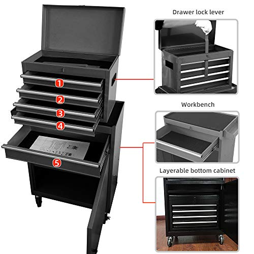 5-Drawer Rolling Tool Chest, Big Tool Box Organizer with Wheels and Drawers,High Capacity Removable Tool Cabinet with Lock for Workshop Garage (Black)