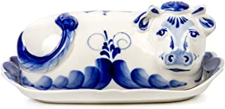 Hand-painted Cow Butter Dish Blue & White Porcelain. Gzhel