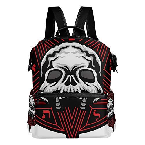 Mokale Gotischer Mantel bewaffnet Schädel Pentagram Grunge,Laptop Rucksack Lederband Schultasche Outdoor Travel Casual Daypack
