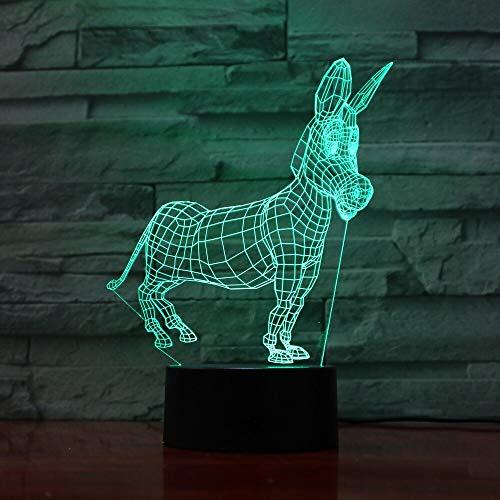 Animal Burro Modelado Botón de humor USB 3D LED Luz de noche Lámpara de mesa Decoración de cabecera Regalo de los niños