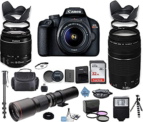Canon EOS 4000D   Rebel T100 DSLR Camera with 18-55mm is II Lens Bundle + Canon EF 75-300mm f 4-5.6 III Lens and 500mm Preset Lens + 32GB Memory + Professional Bundle +TOP KNOTCH Cloth