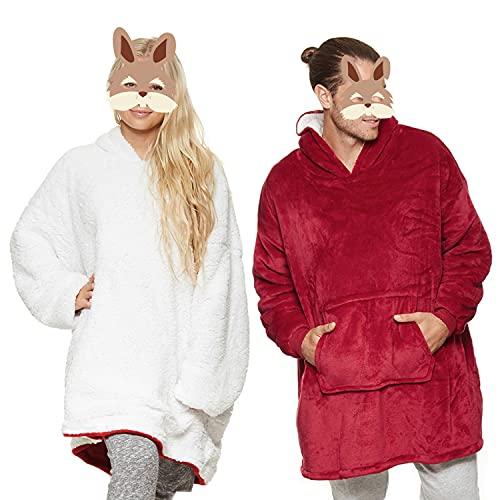 Rosyduck Manta supergrande, con capucha, manta perezosa, supersuave, suave, cálida, para hombres y mujeres, talla única adecuada para todas las niñas, regalos de viaje, rojo, talla única 7 a 13