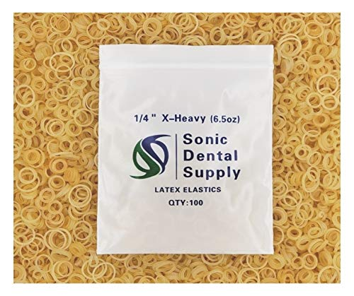 Sonic Dental - Amber 1/4' X-Heavy 6.5 oz - Orthodontic Elastic - Braces - Dental Rubber Bands USA