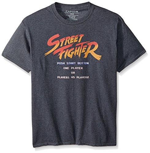 American Classics Unisex Street Fighter Start Screen Adult Short Sleeve T-Shirt, Black Heather, XLarge