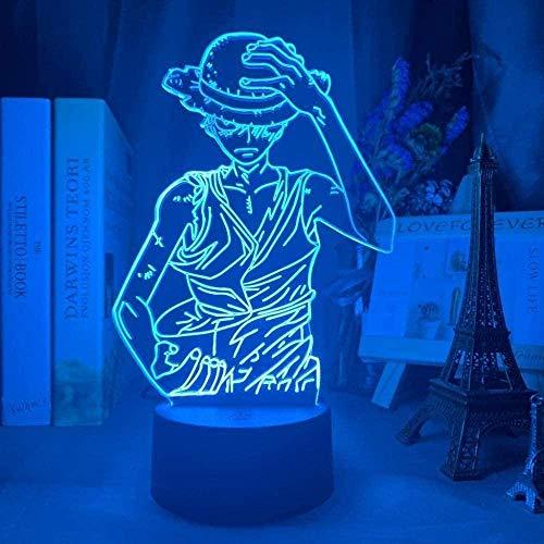 Lámpara De Mesa De Ilusión De Luz De Noche 3D Anime One Piece Monkey D Luffy Figura Luz De Noche Para Niños Lámpara De Decoración De Cabecera Para Niños Lámpara De Decoración De 7 Cambios De Color Par