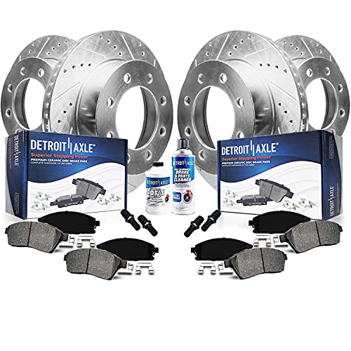 Detroit Axle - 4WD 331mm Front & Rear Drilled Slotted Rotors + Brake Pads Replacement for Ford...