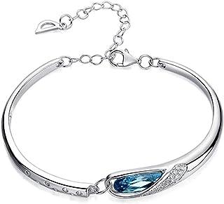 Crystal Glass Bracelet LUBUY 925 Sterling Silver Flash Diamond Austrian Crystal Bracelet Glass Shoes Bracelet Temperament ...