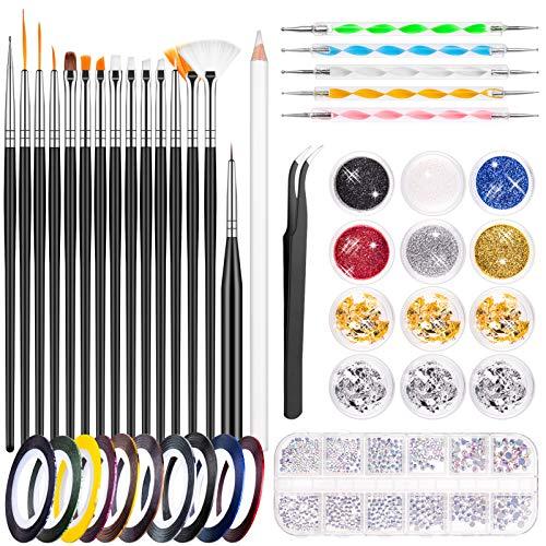 MELLIEX Kit per Nail Art, Strumenti per Nail Art con 15 Pennelli per Unghie, Pennarello per Unghie, Glitter per Unghie, Lamina per Unghie, Nastri per Unghie, Strass, Pinzette per Nail Design