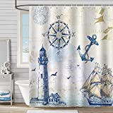 Bonhause Nautical Sailboat Shower Curtain with 12 Hooks Lighthouse Compass Anchor Decorative Bath Curtain 72 x 72 Inch Polyester Fabric Waterproof Bathroom Curtain