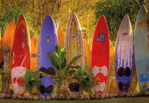"photo wallpaper ""Maui"", surf boards in hawaiian garden, wallmural 368x254cm, 8 panels"