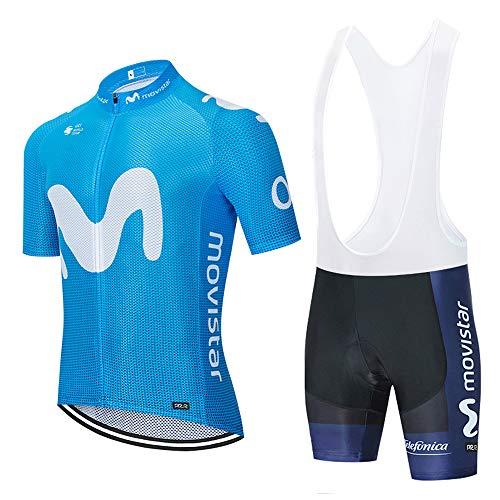XGFHX Maillot de ciclismo para hombre maillot de ciclismo de manga corta transpirable de secado rápido + pantalones cortos con correa de gel
