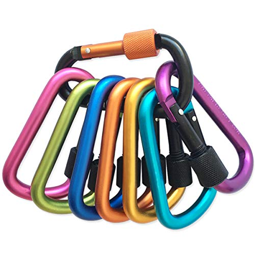 Locking Carabiner 8 colors Premium Aluminum Alloy D ring Carabiner Clips for Outdoor Camping Hiking Traveling Fishing Backpack 8 pcs