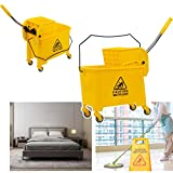 Commercial Mop Bucket - with Down Press Wringer - 5.28 Gallon Capacity,Home Hotel mop Bucket (Yellow)