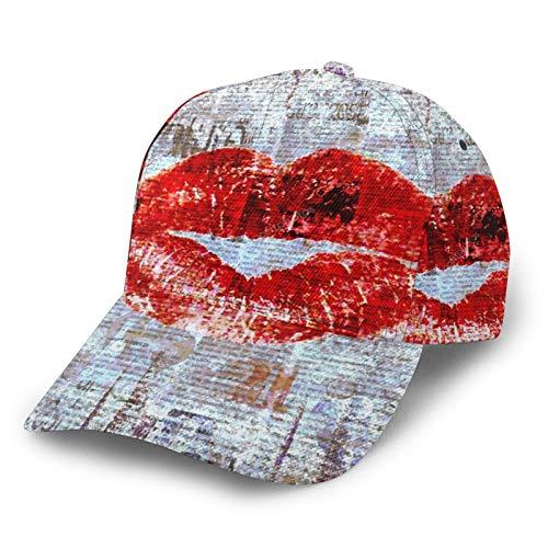 Gebogene Baseballkappe, roter Lippenstift, aus Altem Papier, 3D-Twill, gebogene Krempe, verstellbare Snapback-Kappe, klassischer Sport, lässiger Papa Hut für Männer und Frauen