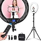 Yesker Ring Light 18' Wireless Remote LCD Screen with Tripod Stand 65W LED Ringlight Bi-Color 3200-5500K CRI≥95 for Portrait Live Stream Photography Tiktok Video Zoom Meeting Online Teaching