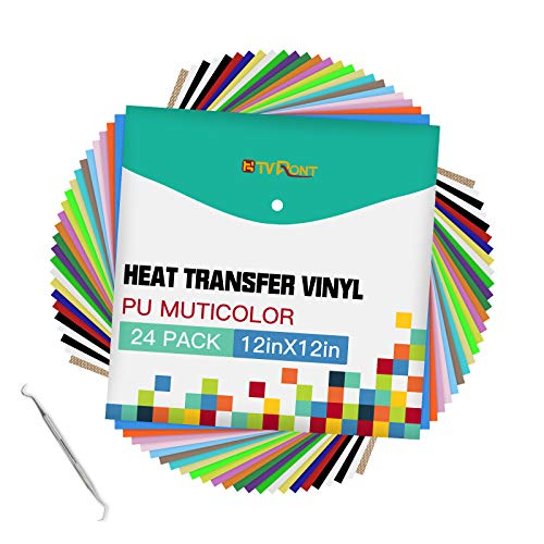 "HTVRONT Heat Transfer Vinyl Bundle: 24 Pack 12""x12"" Iron on Vinyl Sheets for T-Shirt, 21 Assorted Colors HTV Vinyl with 1 Teflon Sheet & Weeding Hooks"