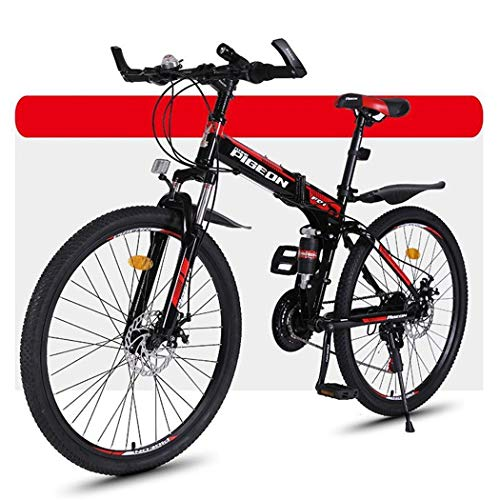 Bicicleta Montaña MTB Bicicleta De Montaña, Bicicletas Plegables BTT, La Suspensión Plena Y Doble Freno De Disco, 26 Pulgadas Ruedas De Radios Bicicleta de Montaña ( Color : Red , Size : 24-speed )