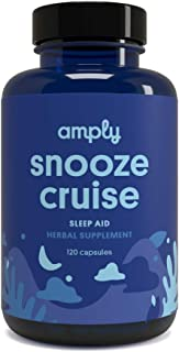 Amply Blends | Snooze Cruise | Herbal Supplement | Sleep Aid Capsules | 120-Count