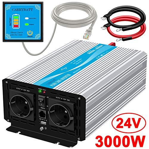 CARRYBATT Wechselrichter Reiner Sinus Spannungswandler 24V 3000W auf 230V mit 5 Meter Fernbedienung mit Dual-AC-Ausgängen & 2.1A USB-Anschluss-Spitzenleistung 6000 Watt