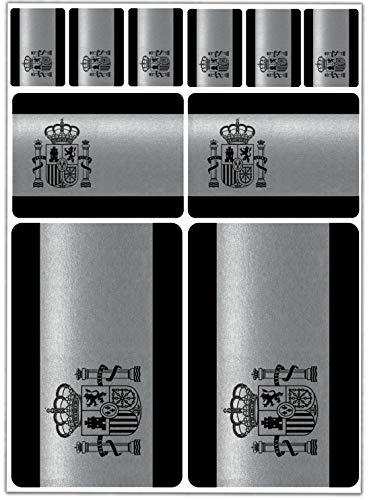 Biomar Labs® 10pcs Pegatina España Spain Flag Bandera Española Plateada Vinilo Adhesivo Coches Cascos Motos Ciclomotores Bicicletas Ordenador Portátil D 69